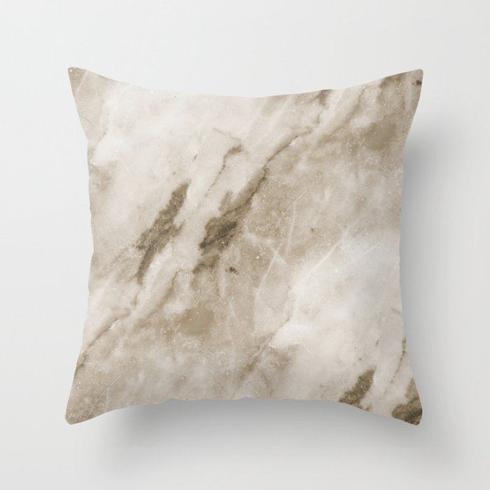 Classic Brown White Marble Rock Real Stone Throw Pillow by