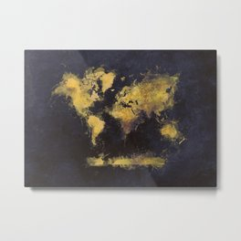 world map 65 yellow Metal Print