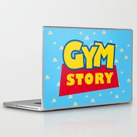 gym Laptop & iPad Skins featuring Gym Story by SuperPrints