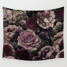 Roses In Burgundy And Pink Vintage Botanical Garden Flowers Wall Tapestry