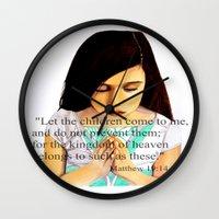 scripture Wall Clocks featuring Matthew 19:14 Bible scripture by Saribelle by Saribelle Inspirational Art