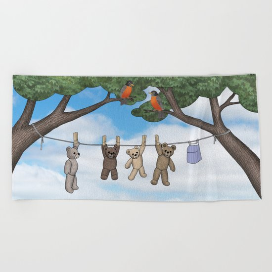 robins, poppies, & teddy bears on the line Beach Towel