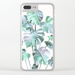 Delicate Monstera Blue And Green #society6 Clear iPhone Case