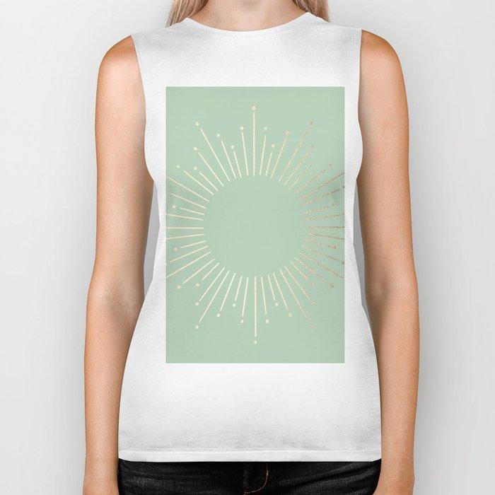 Simply Sunburst in Pastel Cactus Green Biker Tank