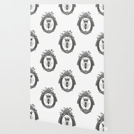 Queen Bee | Vintage Bee with Crown | Black, White and Grey | Wallpaper
