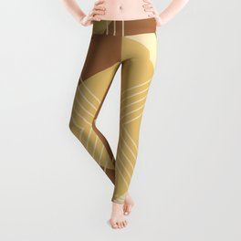 Modern Geometric Diamonds and Stripes in Golden Yellow Honey Brown Leggings