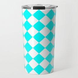 Diamonds - White and Aqua Cyan Travel Mug