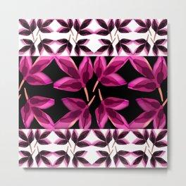 Pink Charcoal Leaves Metal Print