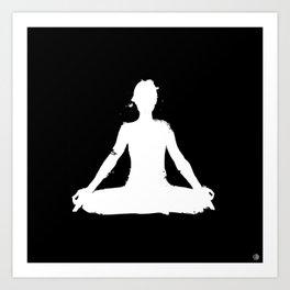 yoga pose chakra black and white silhouette  Art Print