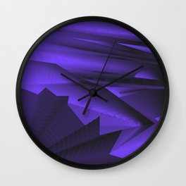 Strange gentle landscap with stylised mountains, sea and blue Sun. Wall Clock