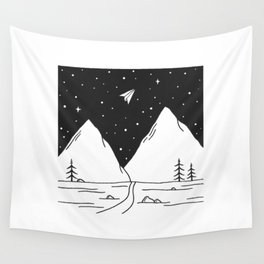 """""""Fly Away"""" - Paper Plane Landscape Wall Tapestry"""