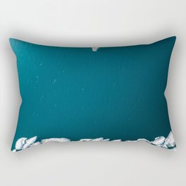 Minimalist Ice Bergs in the blue Ocean - Aerial Photography Rectangular Pillow