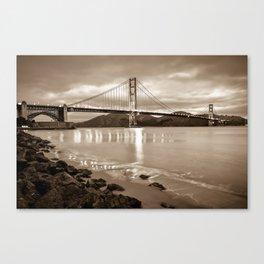 Golden Gate Bridge - Sepia - San Francisco Cityscape Canvas Print