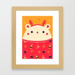 Merry Christmas Bear Framed Art Print