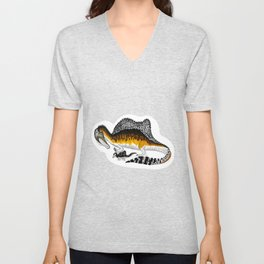 Spinosaurus mother and juvenile Unisex V-Neck