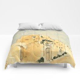 "Eugène Delacroix ""A Moroccan building"" Comforters"