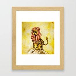 A lion with giraffe costume Framed Art Print