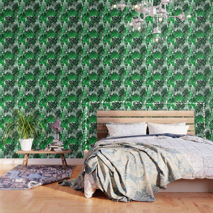 Green Big Monstera Leaves - white Wallpaper