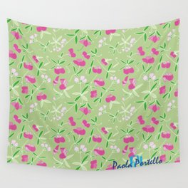 Summer Pink Flower Wall Tapestry