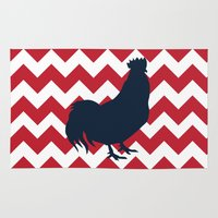 rooster Area & Throw Rugs featuring Rooster by Gathered Nest Designs