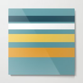 Wide Stripes in Turquoise Blue White Mustard Yellow and Orange Metal Print