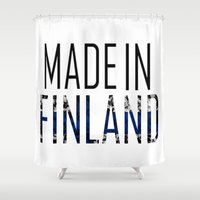 finland Shower Curtains featuring Made In Finland by VirgoSpice