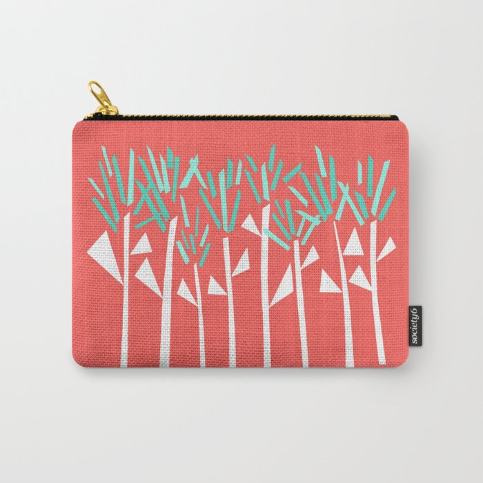 Coral and Teal Botanical Collage Print Carry-All Pouch