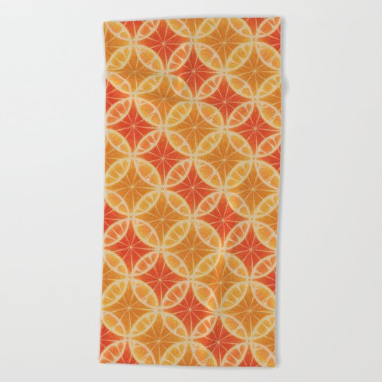 Orange Slice Pattern Beach Towel