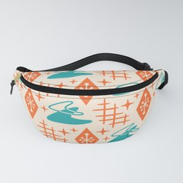 Mid Century Modern Space age Boomerang Pattern Turquoise and Orange 329 Fanny Pack