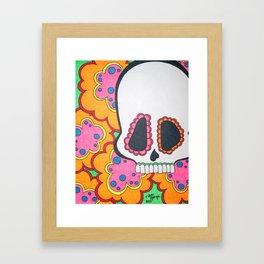 Funky Skull with Flowers Framed Art Print