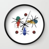 insects Wall Clocks featuring playful insects by Lydia Coventry