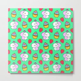 Cute happy cuddling funny Kawaii baby kittens, sweet red summer strawberries and colorful yummy cupcakes pastel teal green design. Nursery decor. Metal Print