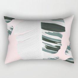 White Green Pastel Tropical Banana Leaves Design Rectangular Pillow
