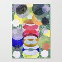 Canvas Prints featuring Overlapping Ovals and Circles on Green Dotted Ground by Heidi Capitaine