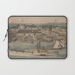 Vintage Pictorial Map of The 6th Street Wharf - Washington DC Laptop Sleeve