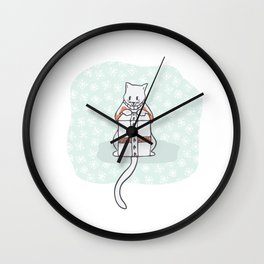 Christmas Kitten Embroidery Jumper and Present Box Clipart, Hand Drawn Wall Clock