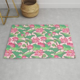 Pink lotus flowers pattern Rug