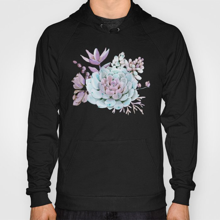Turquoise and Violet Succulents Hoody