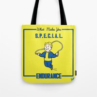 fallout Tote Bags featuring Endurance S.P.E.C.I.A.L. Fallout 4 by sgrunfo