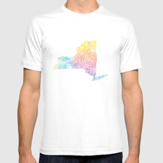 Typographic New York in Springtime White Mens Fitted Tee MEDIUM