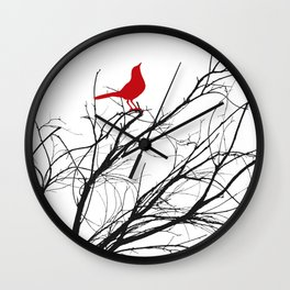 Jaunty Red Bird on Branch A533 Wall Clock