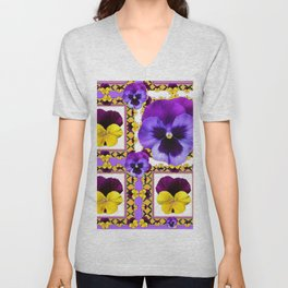 ASYMMETRICAL SPRING PURPLE & YELLOW PANSIES  ART Unisex V-Neck