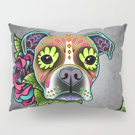 Boxer in White Fawn - Day of the Dead Sugar Skull Dog Pillow Sham