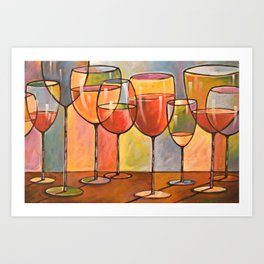 Whites and Reds ... abstract wine glass art, kitchen bar prints Art Print