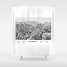 Ticonderoga, NY Map 1891 Shower Curtain