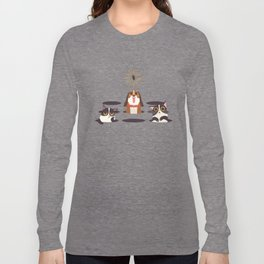 Cute Cats Dogs on Sunny Day Long Sleeve T-shirt