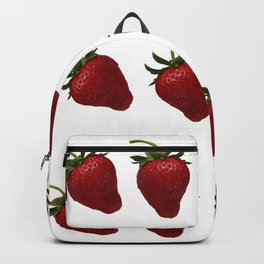 Red, Ripe Strawberries Tumbling in Rows Backpack
