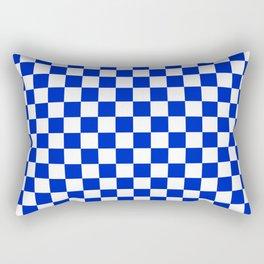Cobalt Blue and White Checkerboard Pattern Rectangular Pillow
