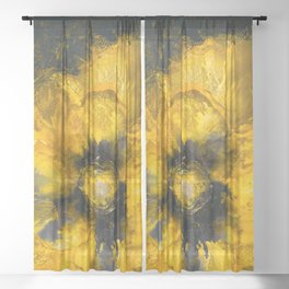 Jaune Fleur Sheer Curtain