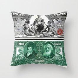 Vintage 1886 US $2 Dollar Bill Educational Series Silver Certificate Wall Art Throw Pillow